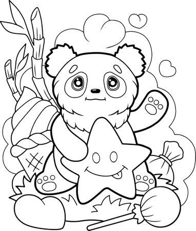 little cute panda, coloring book, funny illustration