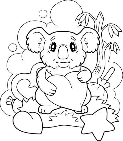 cartoon cute koala, coloring book, funny illustration