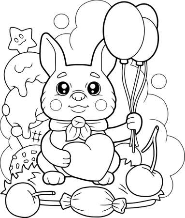 cute little bunny with balloons, coloring book, funny illustration 矢量图像