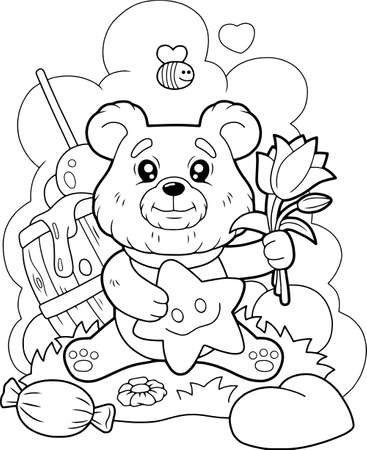 little cute bear with flowers, coloring book, cartoon illustration