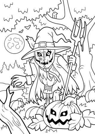 scary monster scarecrow, coloring book, funny illustration