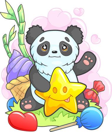 cute cartoon panda sitting on the grass, funny illustration 矢量图像
