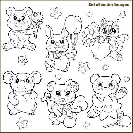 cute cartoon animals, coloring book, funny images set 矢量图像