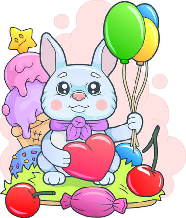 cute little bunny with balloons, funny illustration 矢量图像
