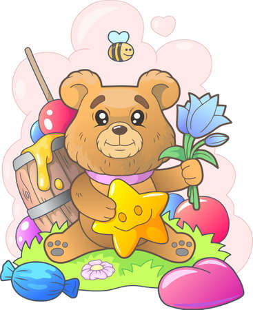 little cute bear with flowers, funny illustration