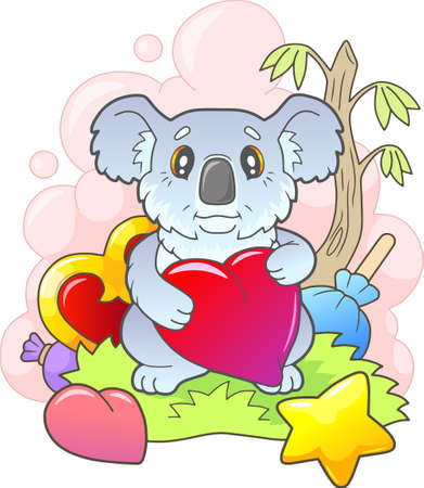 little cute koala sitting on the grass, funny illustration 矢量图像