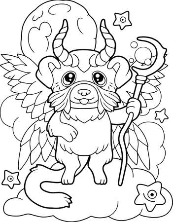 cute magic dog is flying above the clouds, coloring book