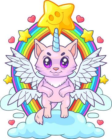 little cute cat unicorn, funny illustration