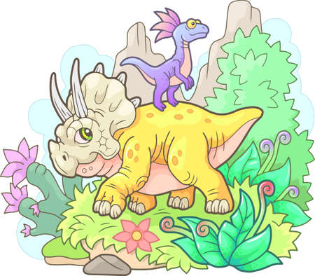 little cute dinosaurs, funny design illustration
