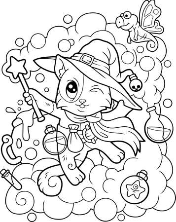 cartoon cute wizard cat, funny illustration