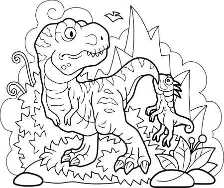 cartoon cute dinosaurs, coloring book, funny illustration 矢量图像
