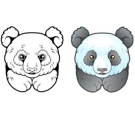little cute panda, coloring book, funny design