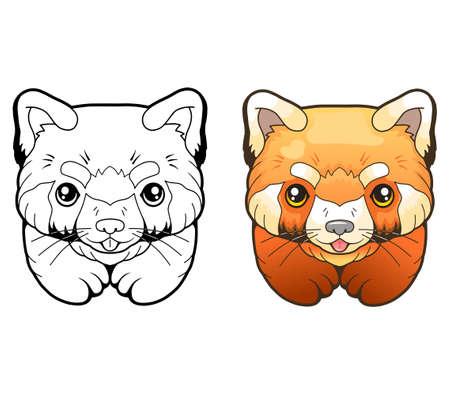 little cute red panda, coloring book, funny design 矢量图像