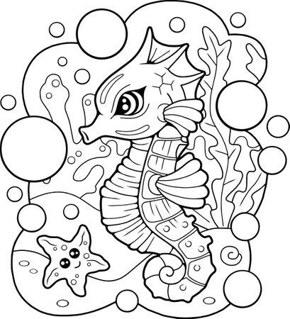 cartoon cute seahorse, coloring book, funny illustration