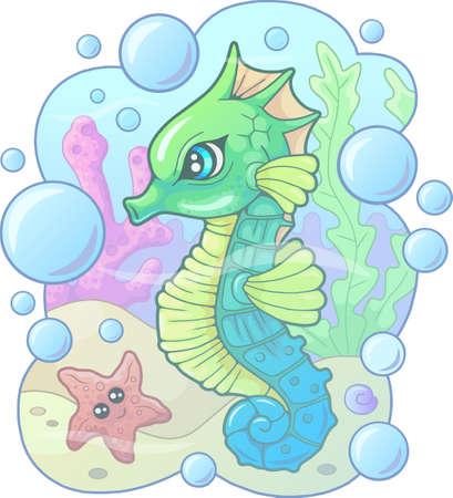 little cartoon cute seahorse, funny illustration 矢量图像