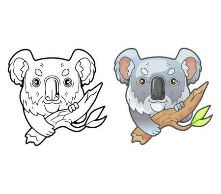 little cute koala, coloring book, funny illustration