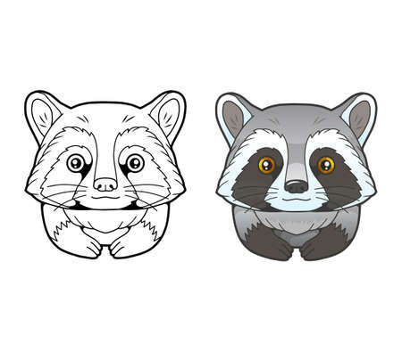 little cute raccoon, coloring book, funny illustration 矢量图像