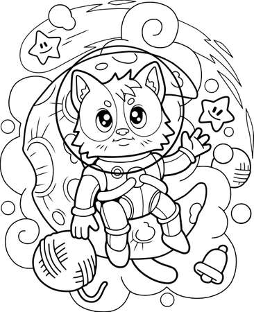 cute cat astronaut sitting on the moon, coloring book, funny illustration