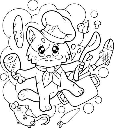 cute cartoon cat chef, coloring book, funny illustration