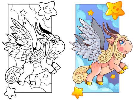 cartoon cute pony pegasus, coloring book, funny illustration
