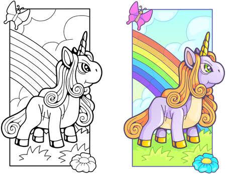 little cute pony unicorn, coloring book, funny illustration