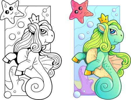 cartoon cute pony seahorse, coloring book, funny illustration