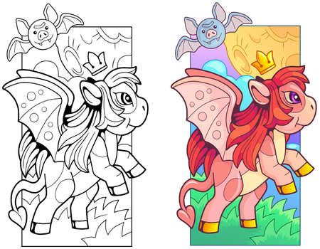 cute pony dragon, coloring book, funny illustration