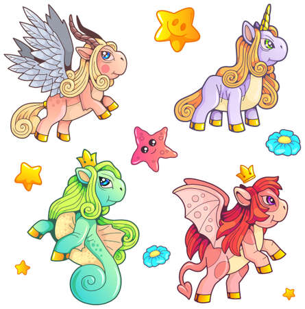 cute magic ponies, set of images, funny illustration