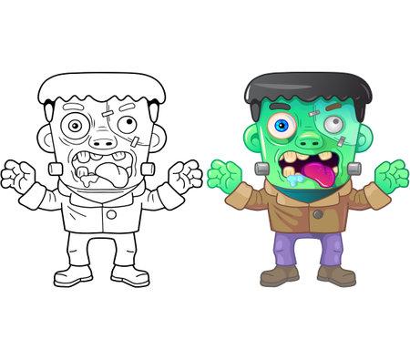 cartoon monster frankenstein, coloring book, funny illustration