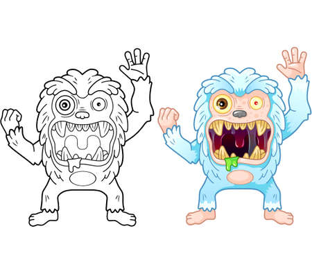 cartoon cute bigfoot monster, coloring book, funny illustration 矢量图像