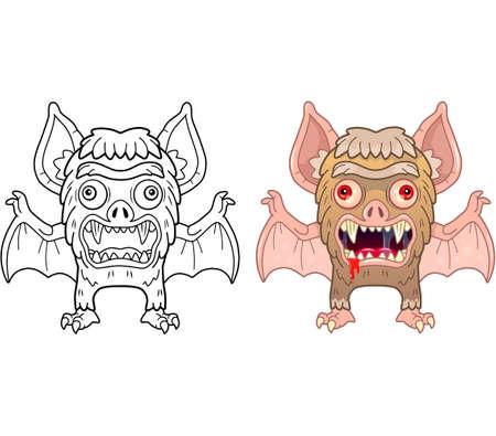 Cartoon monster vampire, coloring book, funny illustration