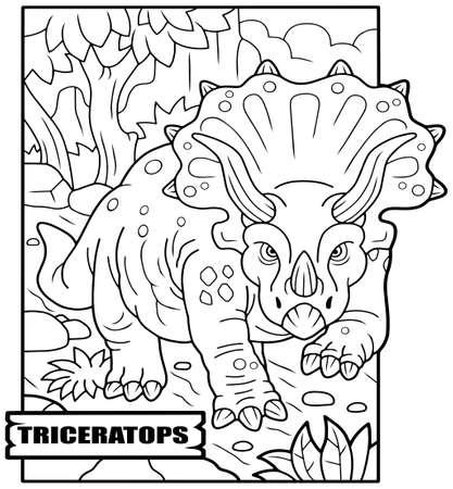 prehistoric dinosaur triceratops, coloring book, funny illustration