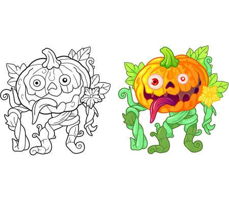 cartoon pumpkin monster, funny illustration, coloring book