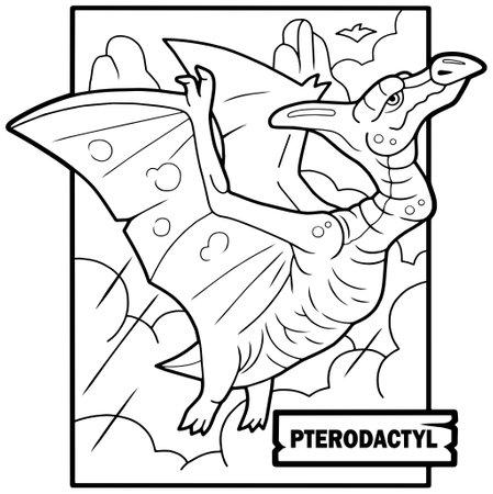 prehistoric dinosaur pterodactyl, coloring book, funny illustration