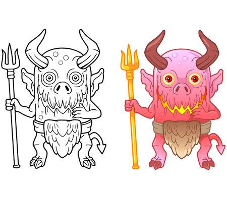 cartoon monster demon, coloring book, funny illustration 矢量图像