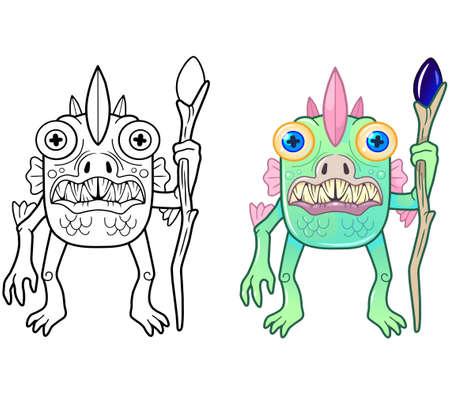 cartoon swamp monster, coloring book, funny illustration 矢量图像