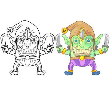 cartoon monster goblin, coloring book, funny illustration