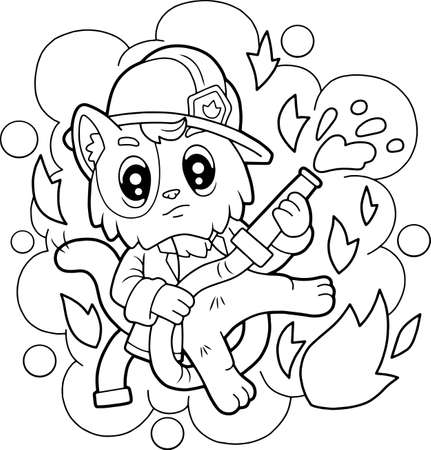 cartoon cute cat firefighter, coloring book, funny illustration