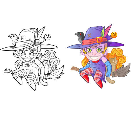 cartoon cute witch on broomstick, coloring book, funny illustration