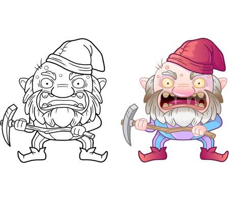 cartoon evil gnome, coloring book, funny illustration