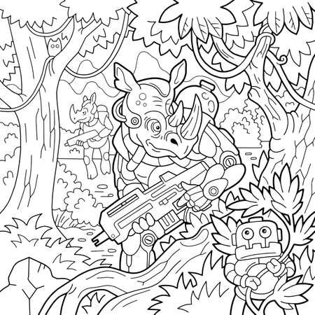 cartoon rhino hunters, fantasy illustration, coloring book