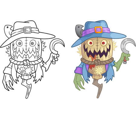 cartoon scary scarecrow, coloring book, funny illustration 矢量图像
