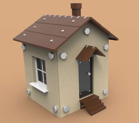 graphic designing: Small house in 3D for websites and applications