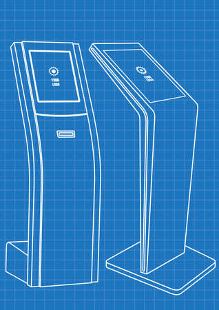 Blueprint of Two Promotional Interactive Information Kiosk, Advertising Display,  Touch Screen Display. Illustration
