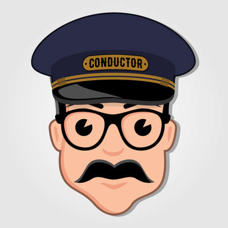 Train Conductor Cartoon Face with Glasses. Vector illustration.