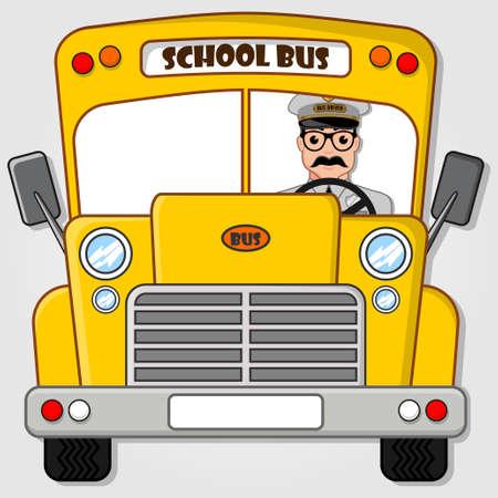 Autobús escolar aislado en un fondo blanco. Ilustración de vector de estilo plano Ilustración de vector