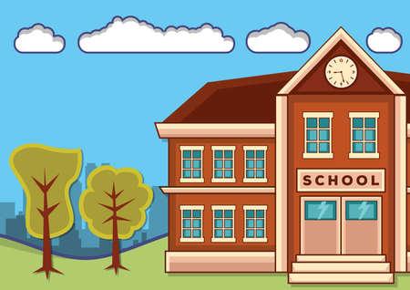 School building with landscape. Vector flat design illustration