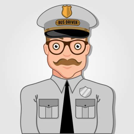 Bus Driver Cartoon Face. Vector illustration.