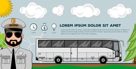Reisebus. Transportbanner oder Poster. Ideal für das Profilbild einer Website oder eines Social-Media-Netzwerks. Moderne flache Artvektorillustration