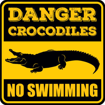 Danger crocodiles no swimming sign. Vector illustration.